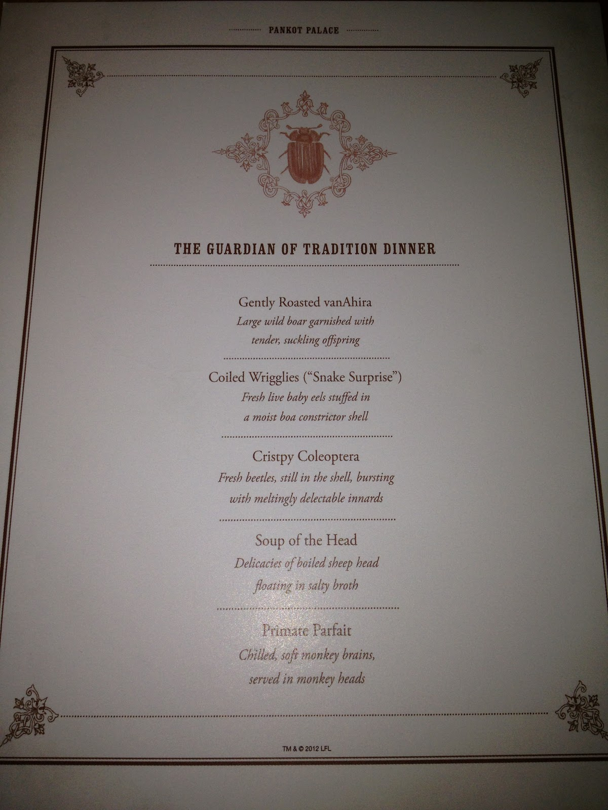 temple of doom banquet menu