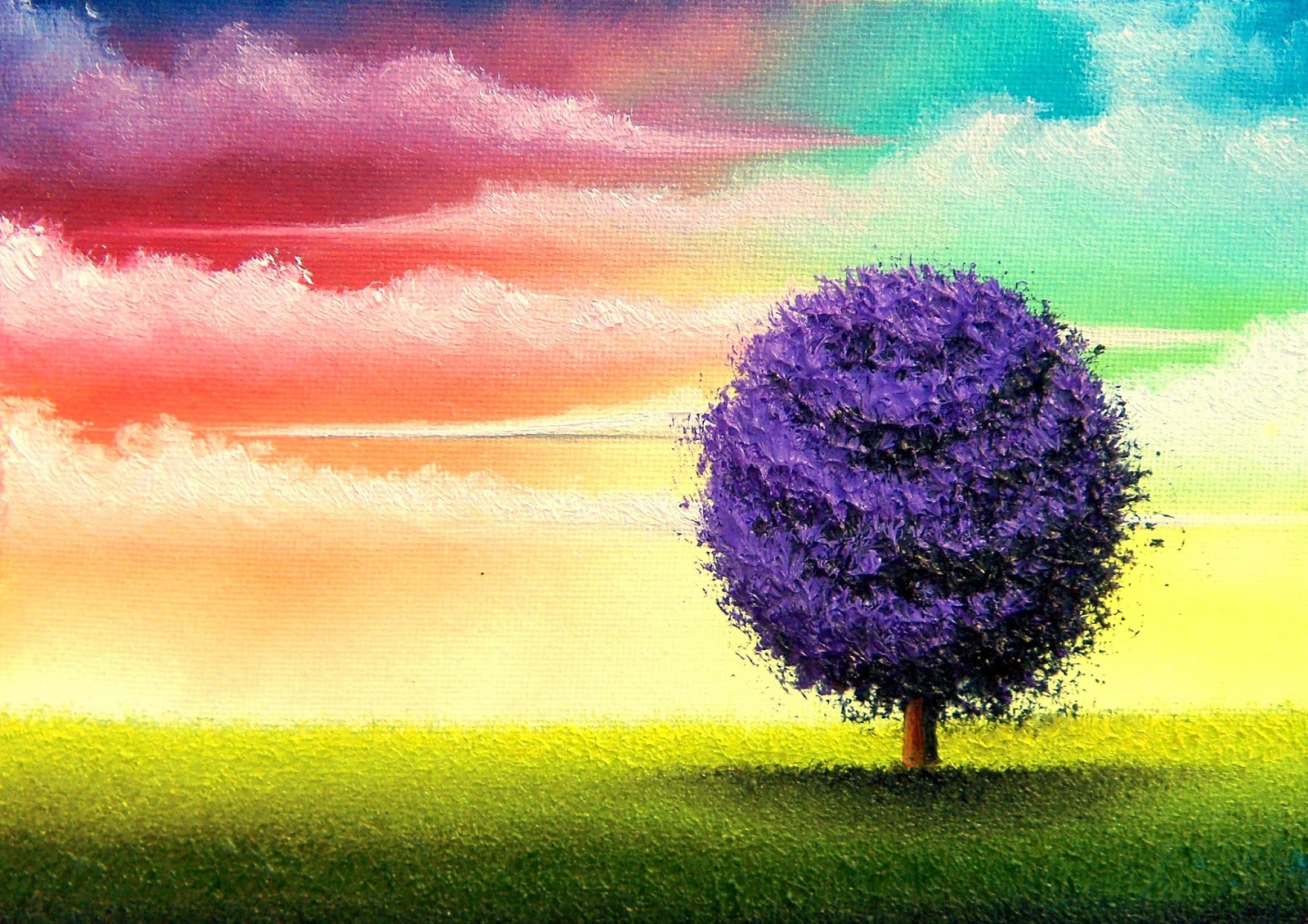 Purple Tree Oil Painting Contemporay Landscape Colorful Sunset Sky Wall Art 5 X 7 Original