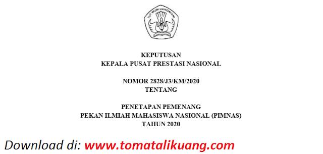 sk pemenang peraih medali pimnas ke 33 tahun 2020 pdf tomatalikuang.com