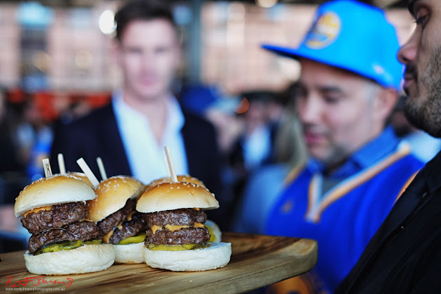 Double beef cheese burgers - TISSOT NBA Finals Party Sydney - Photography by Kent Johnson.