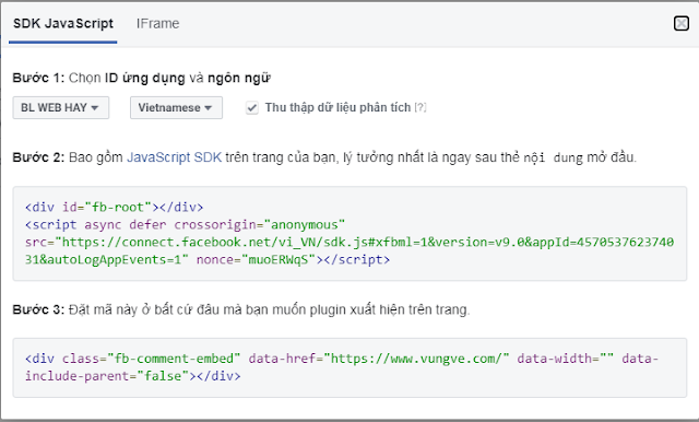 SDK JavaScript plugin bình luận FaceBook