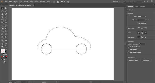 Flat Vector Car in Adobe Illustrator