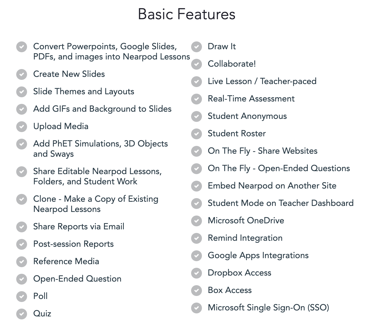 Basic features of Nearpod that are FREE