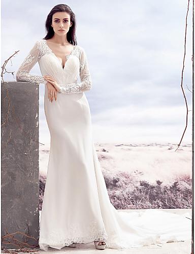 vestidos de novia con manga para boda civil
