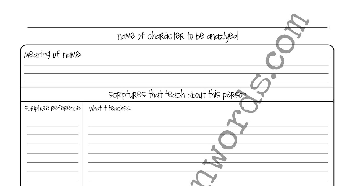 One of a Kind Scripture Journal Character Analysis Templates