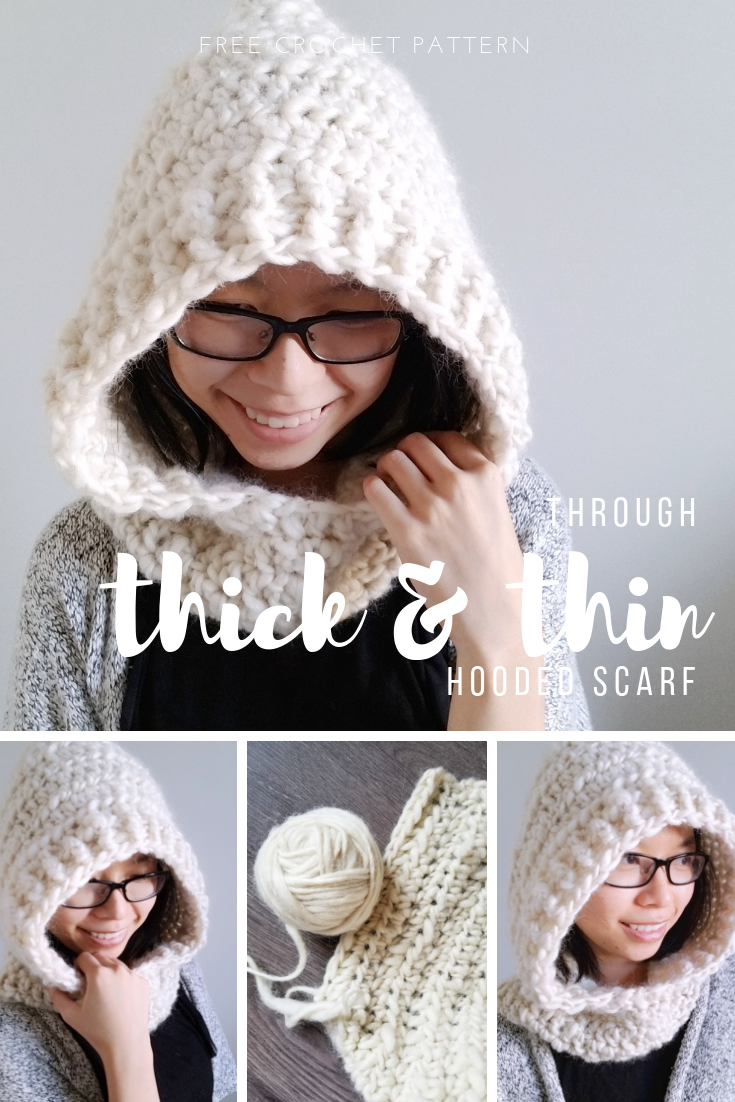 Through Thick And Thin Hooded Scarf Scoodie Crochet Pattern Once