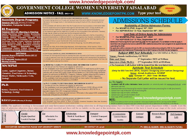 GCWUF  Faisalabad  Admission  2021 are  Open Online Apply - Government College Women University  Faisalabad