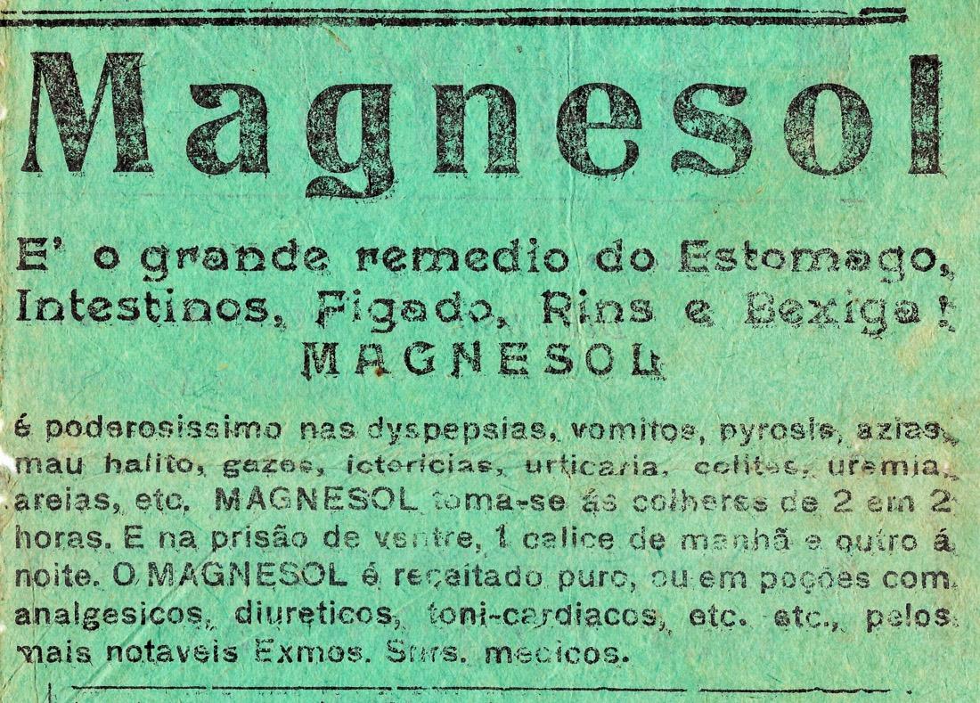 Propaganda antiga do medicamento Magnesol veiculada em 1932