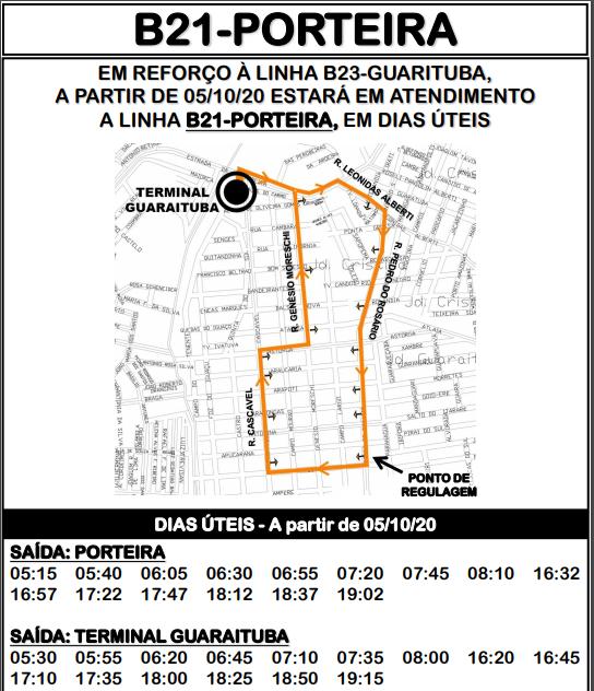 Horário de ônibus B21 PORTEIRA 2020