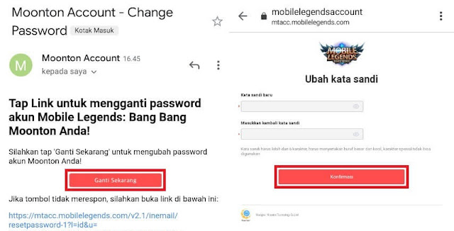 Ganti Password Akun Moonton Mobile Legends