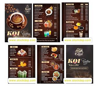Vector menu quán cà phê