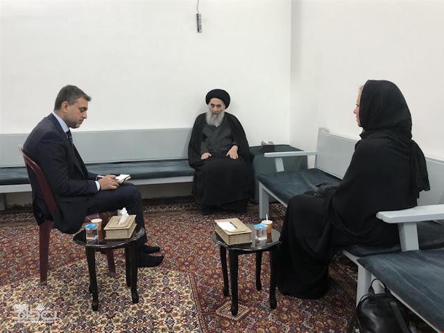 مكتب السيد السيستاني يصدر بياناً بشأن لقاء المرجع بممثلة الأمم المتحدة في العراق بلاسخارت؟