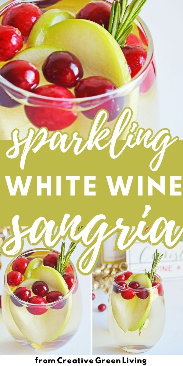 How to make easy Christmas sparkling white wine sangria with cranberries and apples. This is the best holiday sangria to serve for a crowd at Christmas or winter holiday parties. Includes directions for a single glass or for a whole pitcher. This is the perfect easy to make cocktail for beginners that everyone will like.