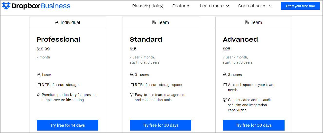 Dropbox pricing and plans for businesses