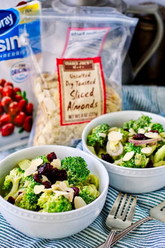 Broccoli Salad with Almonds, Cranberries, and avocado dressing with ingredients