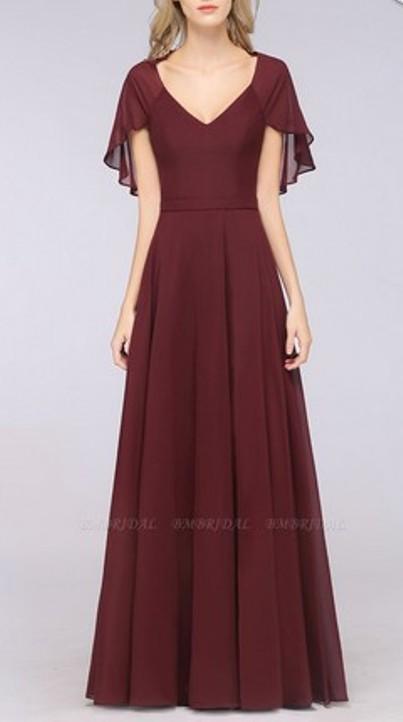V-Neck Flutter Sleeve Bridesmaid Dress– Price: US$ 99.00