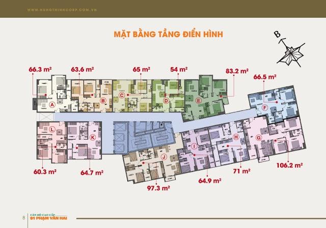 Mặt bằng tầng căn hộ cao cấp 91 Phạm Văn Hai