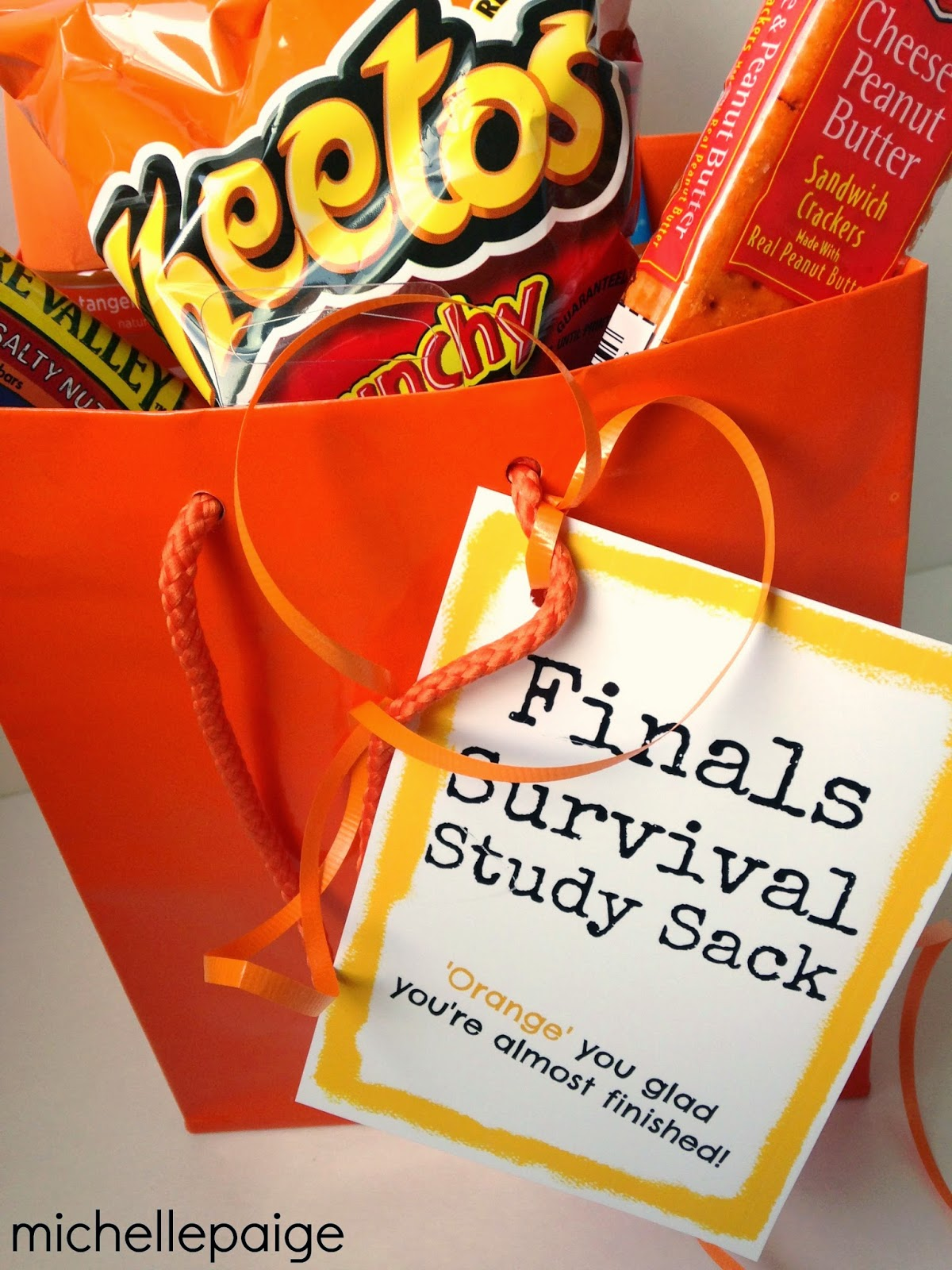 Orange foods and treats for gift package.