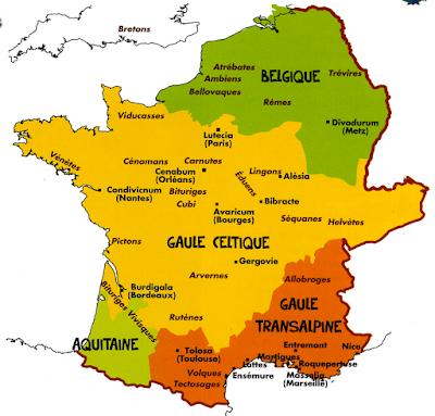 La répartition des principaux peuples gaulois sur le territoire des Gaules vers 60 avant notre ère.