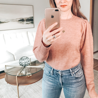 forever 21 puff sleeve sweater, gorjana necklace, mirror selfie