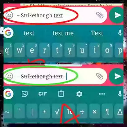 Stike through text in whatsapp