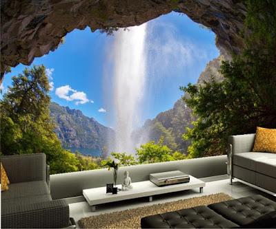 naturtapet vattenfall vardagsrumstapet klippor 3d fondtapet