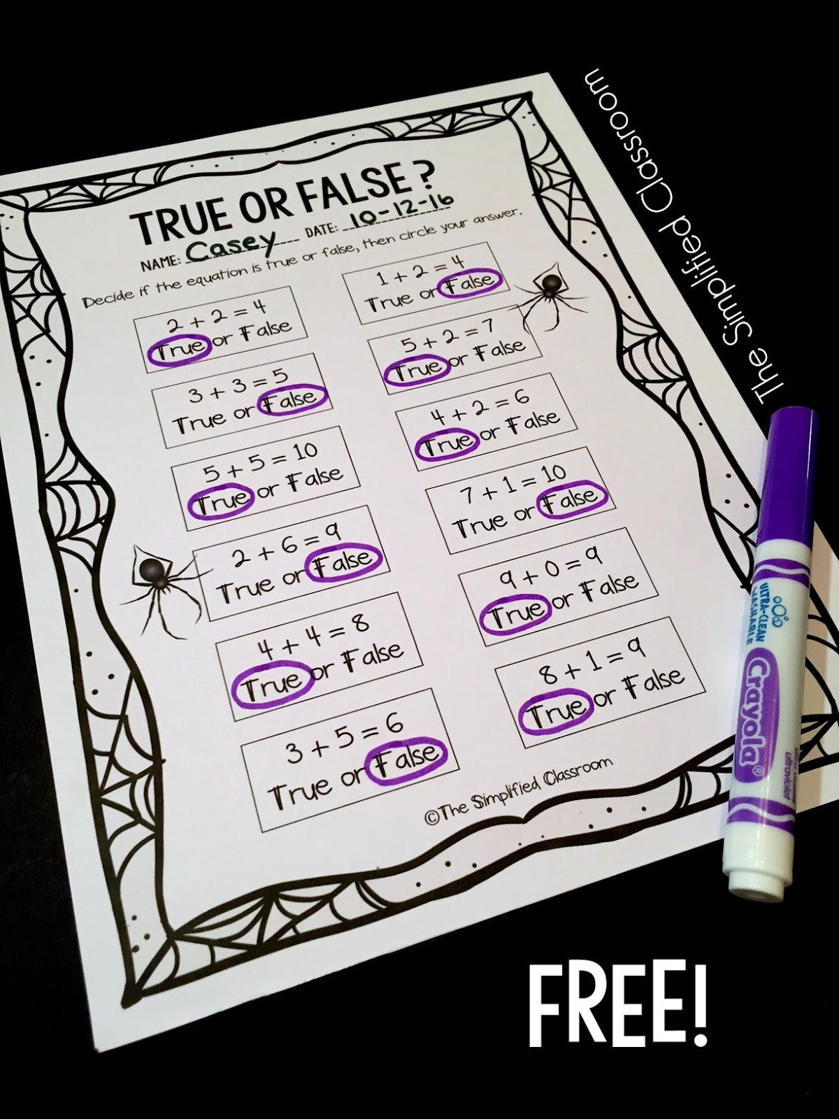The Simplified Classroom Addition True Or False Freebie