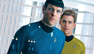 Zachary Quinto as Spock and Chris Pine as Kirk look tense