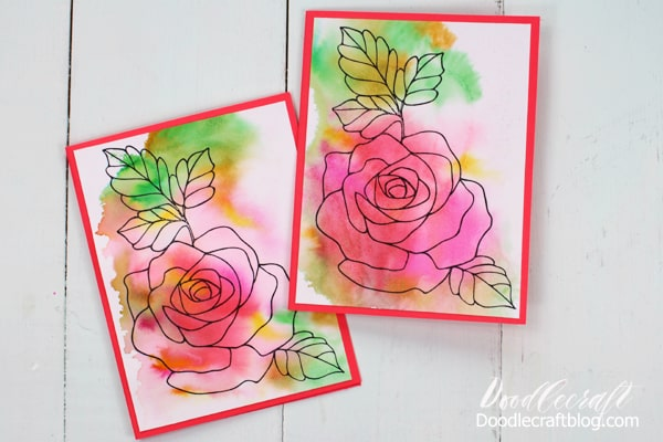 Make Watercolor Wash Valentine cards using Tombow Dual Brush Pens. Simply scribble on the blending palette, spritz with water and press on watercolor paper. Let dry and then use a rubber stamp image or draw a design of your own. Mount on a card base with Tombow Adhesive and then make a bunch more!