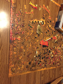 Mostly uncompleted jigsaw puzzle
