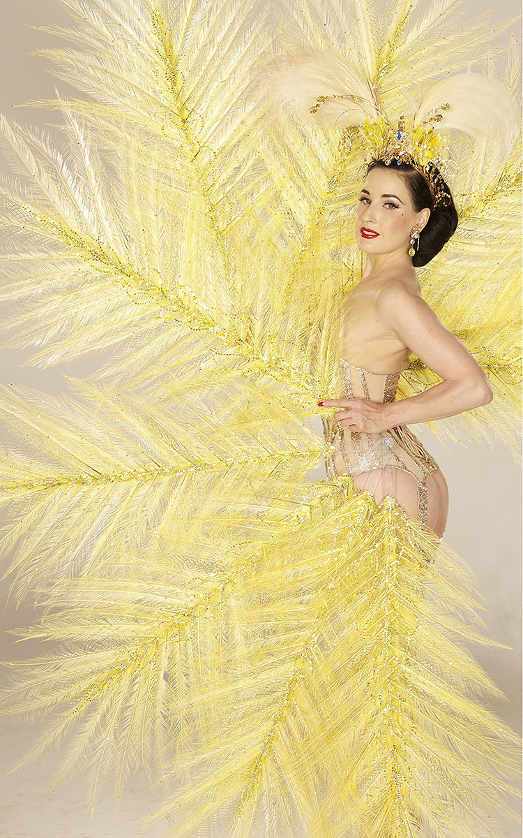 Dita Von Teese in canary yellow Mr Pearl corset by Albert Sanchez - UK style blog