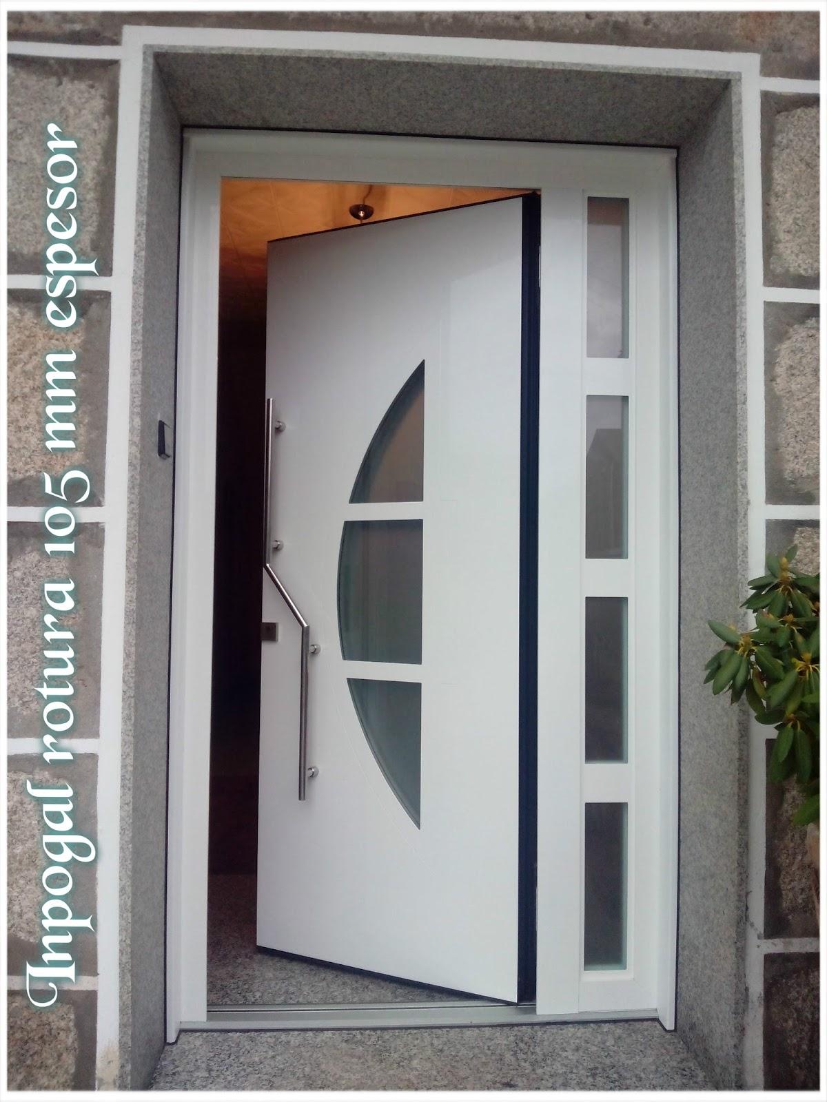 Puertas aluminio inpogal puertas de rotura serie prestige - Modelos de puertas de aluminio para exterior ...