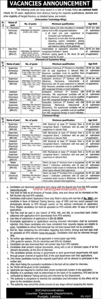 Punjab Police Jobs December 2019 | 150 Plus Supervisors Assistant Supervisors Data Entry Operators