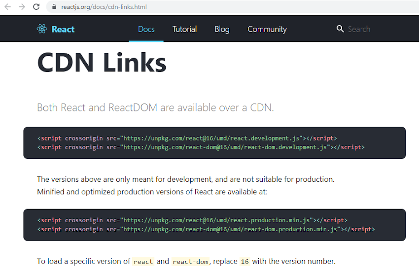 Using ReactJS from CDN