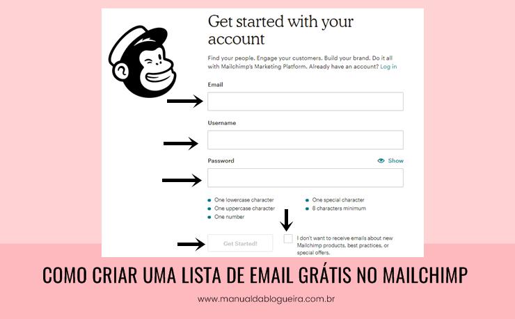 criar uma lista de email