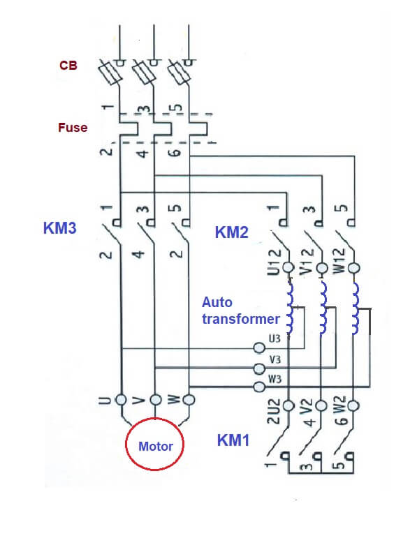 auto transformer starter circuit diagram