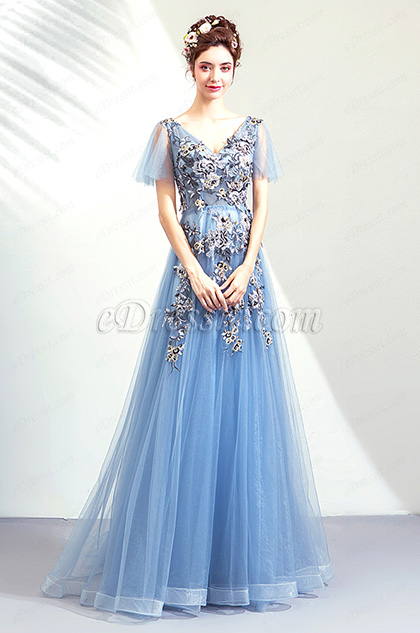 Blue Sexy V-Cut Embroidery Party Ball Prom Dress