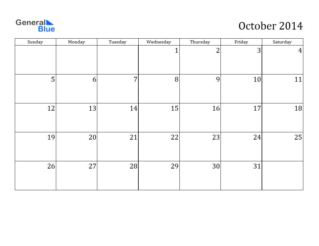 october 2014 calendar printable excel printable calendar 2014