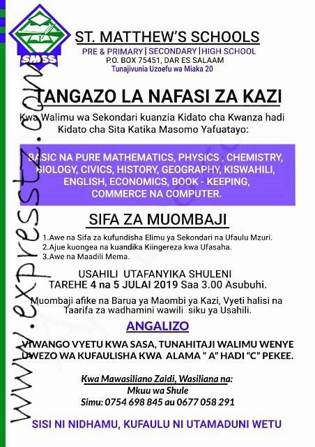 New Teaching Vacancies at St Mettew's School, Dar es salaam