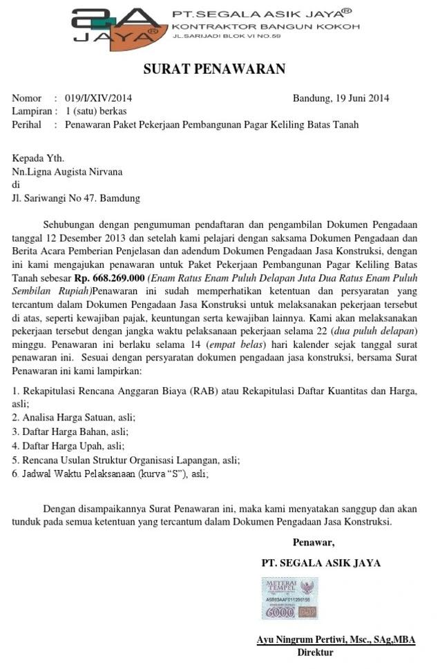 2. Contoh Surat Penawaran Jasa Konstruksi Baja