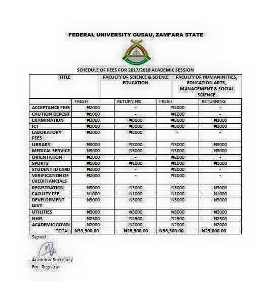 FUGusau 2017/2018 Approved School Fees Schedule Out