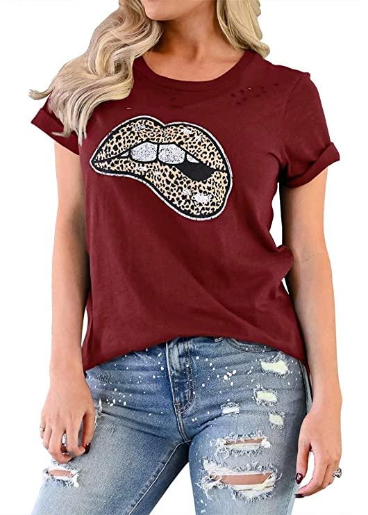 45%OFF LACOZY Women's Leopard Lips Print Tops