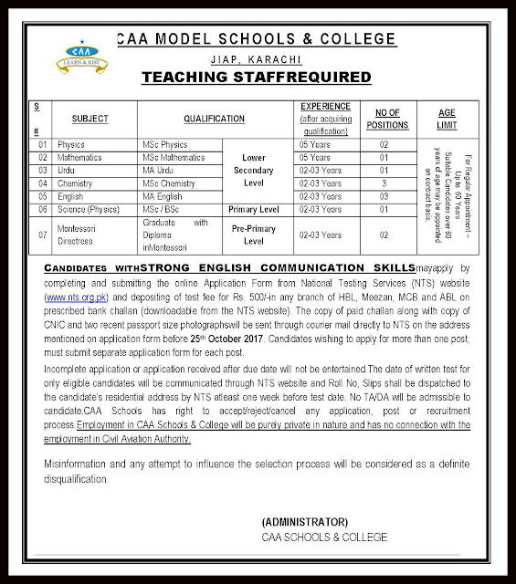 Civil Aviation Schools Karachi Jobs for Teachers