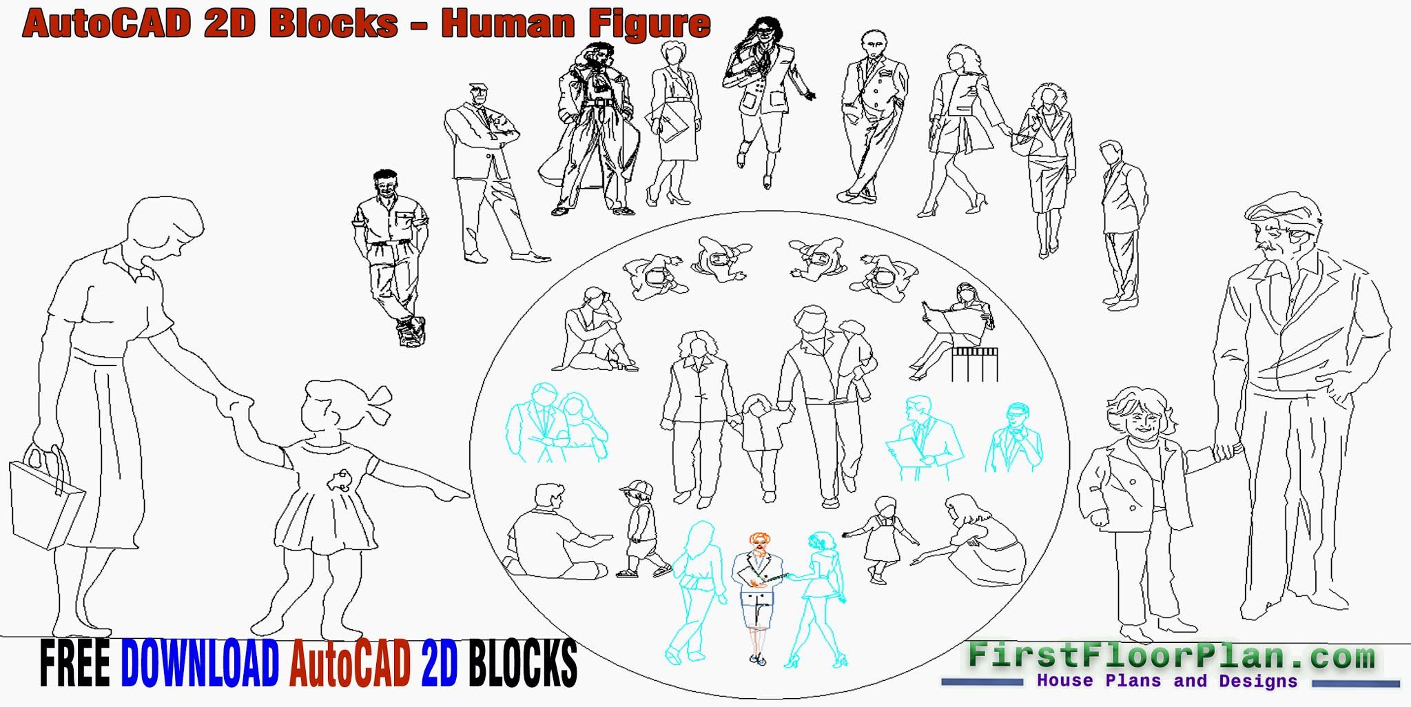 AutoCAD 2D Blocks Human Figure, AutoCAD 2D Blocks Free Download