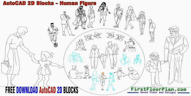 AutoCAD 2D Blocks Human Figure, AutoCAD 2D Blocks Free Download