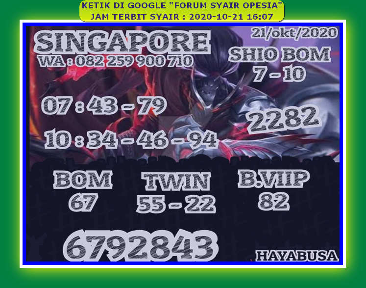 Kode syair Singapore Rabu 21 Oktober 2020 83