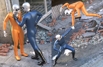 Classic Superhero Vignette Poses for Genesis 3 Male