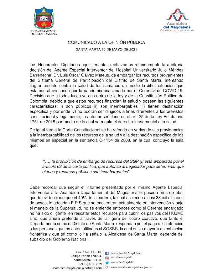 Diputados rechazan decisión del Agente Interventor del HJMB de embargar recursos del Sistema General de Participación del Distrito