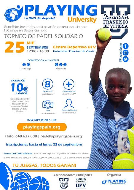 Torneo Pádel Solidario gracias a la ONG Playing en la Universidad Francisco de Vitoria. 25 Septiembre 2019, Madrid.