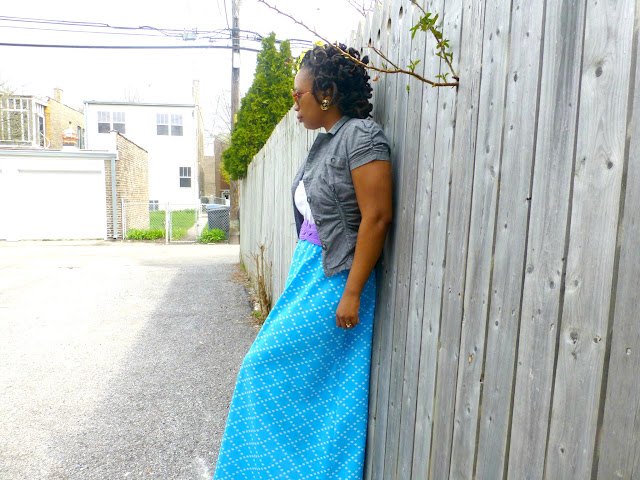 thrifted vintage maxi skirt